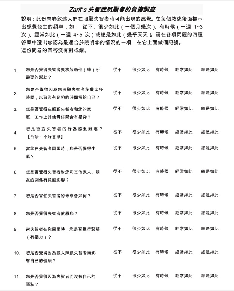 supplemental materials for chinese version of the zarit caregiver burden interview  a validation